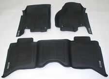 Combo 1st + 2nd Row Floor Mats in Black for 2014 GMC Sierra Ext. Cab 2500/3500