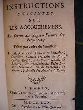Obstétrique - RAULIN, Instructions accouchements sages-femmes 1770 E.O.