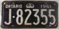 1961 ONTARIO CANADA License Plate J-82355
