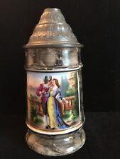 Antique Porcelain Lithophane GERMAN Beer Stein C1900 Pewter Lid Sweetheart Scene