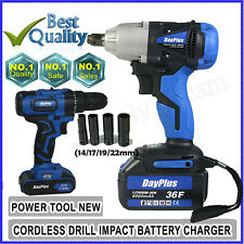 21V Portable Cordless Impact Wrench Kit Drill Gun 1/2Inch LED Drive With Battery