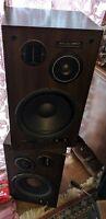 """PAIR 2 Pioneer DSS-7 Speakers Rare Walnut Beryllium Tweeter 12"""" Subwoofer vtg"""