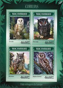 OWLS (Europe Corujas) Birds of Prey Mint MNH Stamp Sheet M/S (2014 Mozambique)