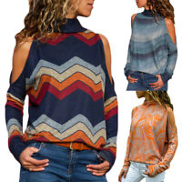 Fashion Sexy Women's Cold Shoulder Casual Loose Long Sleeve T-Shirts Tops Blouse