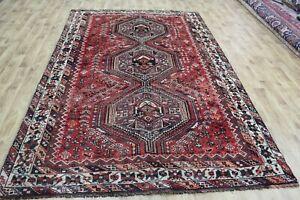 Antique Persian Shiraz Qashqai rug handmade wool rug 295 x 190 cm