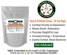 30 Kava & Rhodiola Rosea Tea Bags - Depression,Stress, Anxiety,Relaxation NEW!!!