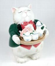 Vintage 1988 FITZ & FLOYD Kittens of Knightsbridge Cat Butler Candy Box w/Lid