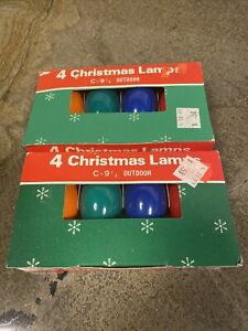 Holiday 8 Pack - Color Ceramic C9 Christmas Light Replacement Bulbs Vintage