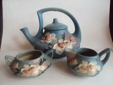Vintage Original Roseville Pottery Magnolia Teapot Tea Pot/Sugar/Creamer Set.