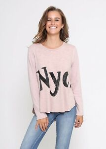 Leoni Australia Women's Nyc. Long Sleeve Tee in Blush with sequin detailing