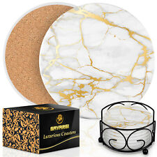 Coasters for Drinks Absorbent With Holder - Marble Style Absorbent Coasters