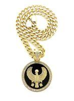 "Gold Egyptian God Horus Falcon Medallion Pendant Necklace, 9mm 18"" Cuban Chain"