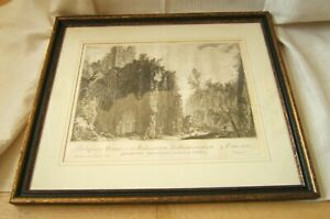 PIRANESI ETCHING RUINS 18TH CENT. FRAMED & MATTED