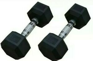 2x Rubber Dumbbells 15 lbs Hex Dumbbell Pair Durable Free Weights Weight