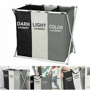 Aluminium Large Laundry Basket Hamper Washing Clothes Storage Bin Bag Light Dark