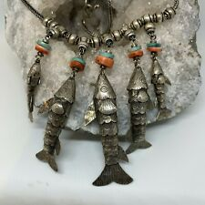 PERU FISH NECKLACE WITH CORAL AND TURQUOISE