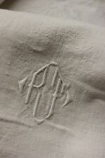 French tablecloth Damask 1930's Art Deco design Rt monogram white table