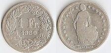 1 FR ARGENT 1880 B SUISSE HELVETIA ÉTAT VOIR PHOTO ET DESCRIPTIF