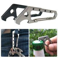 EDC Mini Stainless Steel Key Buckle Snap Clip Hook Carabiner Bottle Opener Tools