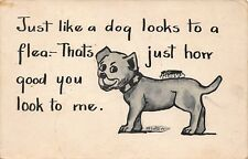VTG POSTCARD PUPPY DOG in COLLAR LIKE A FLEA LOVE ATTRACTION ROMANCE HUMOR COMIC