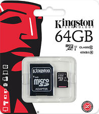 KINGSTON MICRO SD 64GB CLASSE 10 CLASS SDXC SCHEDA DI MEMORIA CARD 45MB/S