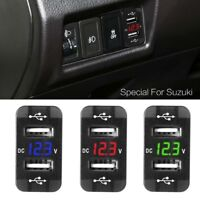 12V Dual USB Car Charger LED Voltmeter Power Adapter For Suzuki Toyota