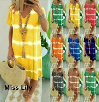 Plus Size Womens Summer V-Neck Midi Dress Ladies Beach Casual Loose Boho Dress