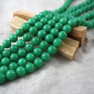 """10mm Round Kelly Green Jade Smooth Stone Beads Lots For Jewellery Making 15"""""""