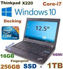 "Thinkpad X220 12.5"" (IPS) i7-2.8GHz (256GB SSD +1TB HDD) 16GB USB 3.0 Dock-DVDRW"
