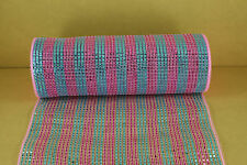 BLUE AND PINK 10 inch Metallic Mesh Wrap Foil for WREATH Decorating 10 Yards
