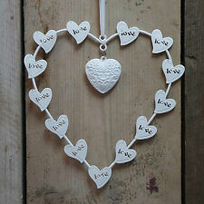 White Metal Wire Wall Hanging Love Heart on Ribbon Wedding Gift Home Decoration