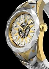New Watchstar SuperStar Automatic Skeleton Silver Gold Dial Open Heart Watch