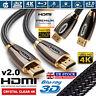 PREMIUM HDMI Cable V2.0 HD High Speed 4K/3D/PS4/Xbox Lead 1m/2m/3m/5m/10m/20m UK