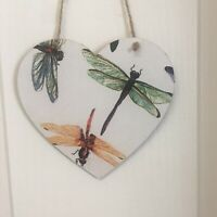 Dragon Fly Handmade wooden hanging Heart Plaque Decoupaged