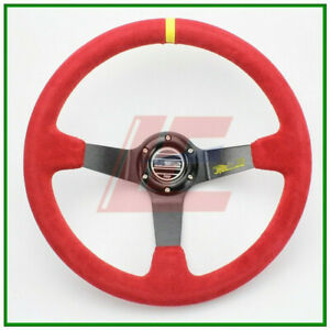 14inch 350mm Suede Leather for Sp deep Corn Drifting Steering Wheel Red New