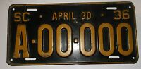 1936 South Carolina Sample License Plate Original