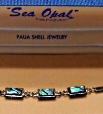 Vintage Sea Opal Bracelet by Anzac Paua Shell Jewelry Fashion in Box Warranty