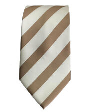 Men's light brown and cream color  striped   pattern  woven  tie