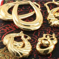 18k Gold Filled Vintage Hoop Drop Earrings With Pattern