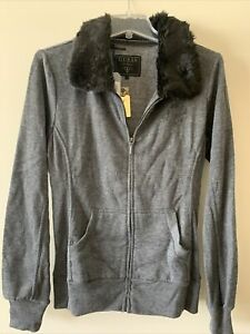 NWT $79 Guess Fur sweater jacket zip size L / Large