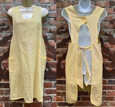 Vintage Yellow Apron Linen with Pockets Full Tiny Flowers Sexy Maid 1950s 1960s