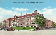 OLD VINTAGE CENTRAL HIGH SCHOOL LOOKING NORTHWEST IN LIMA OHIO LINEN POSTCARD