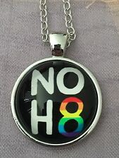 LGBT Gay Lesbian Awareness. No H8 Glass Cabochon Dome Necklace. NEW