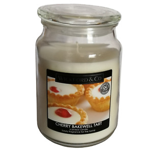 WICKFORD AND CO - LARGE SCENTED CHERRY BAKEWELL TART GLASS JAR CANDLE
