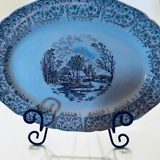 """Currier & Ives Royal Monach First Quality China 13 1/2 """" Platter MARK 22kt GOLD"""