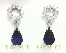 AMETHYST 1.10 Carats & WHITE SAPPHIRE 14k White Gold EARRINGS *Free Shipping*