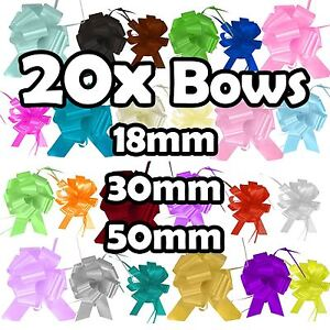 20x PP Pull Bows - 18mm, 30mm or 50mm Size - Florist Pullbows Ribbon Car