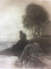 Chevaux à l'abreuvoir Barbizon Charles Emile JACQUE 1813-1894 Hélio G Petit