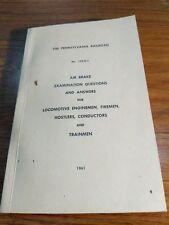 1961 Pennsylvania Railroad Air Brake Exam Q & A for Locomotive Enginemen,  EX.