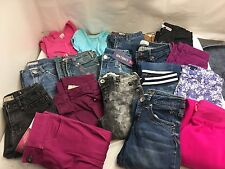 HUGE LOT GIRLS FASHION SIZE 10 DENIM JEANS 15 PAIRS 2 TOPS GREAT NAMES